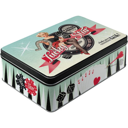 Retro Pin Up LUCKY STAR Blechdose Vorratsdose Flach