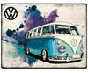 VW Bus Bulli Camper Grunge Light Blue Blechschild 30x40cm