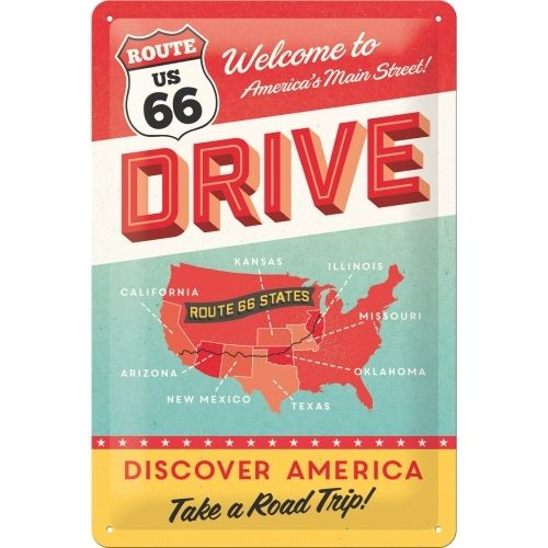 Route 66 Discover America Blechschild 20x30cm