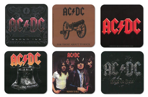 AC/DC Hard Rock Musik Coaster Untersetzer Set 6tlg