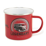 VW Bus Legendary T1 Bulli Emaille Becher Tasse Rot