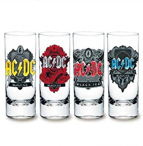 AC/DC Shooter Schnapsgläser 4er Set Black Ice
