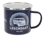VW Bus Legendary T1 Bulli Emaille Becher Tasse Blau