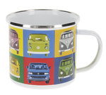Retro VW Bus Emaille Tasse Kaffeetasse Bulli Multicolor