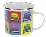 Retro VW Käfer Emaille Tasse Kaffeetasse Beetle Multicolor