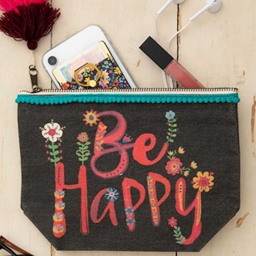 Natural Life Canvas Tasche Kosmetiktasche Be Happy