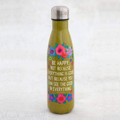Thermosflasche Traveler Bottle Trinkflasche Be Happy grün