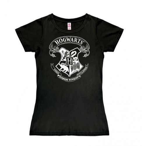 Harry Potter Frauen Girl T-Shirt Hogwarts Logo schwarz