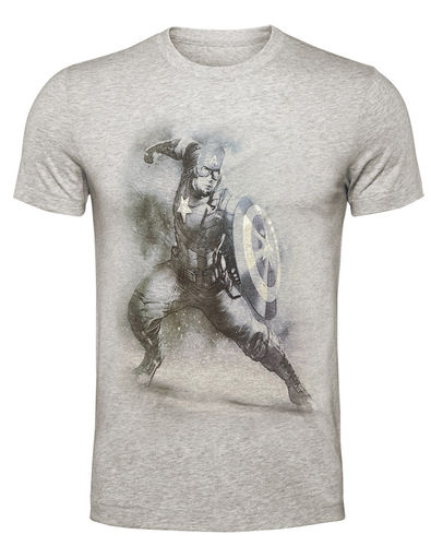 Captain America Herren T-Shirt Shield Silver