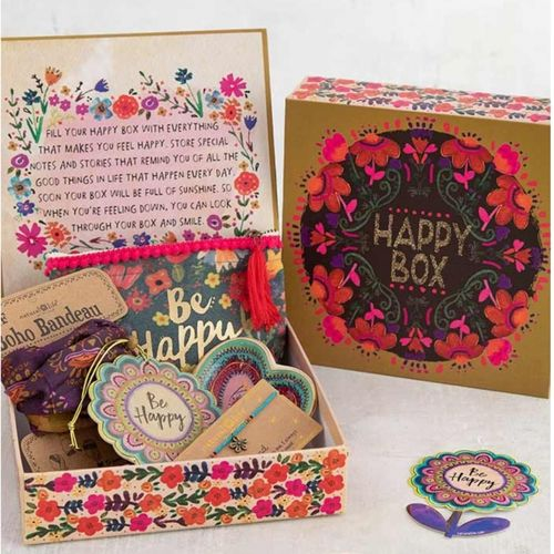 Natural Life Geschenk Karton Happy Box L gold