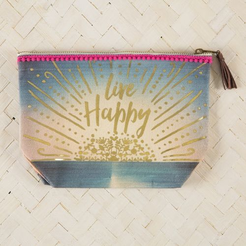 Natural Life Canvas Tasche Kosmetiktasche Indi Blue live Happy